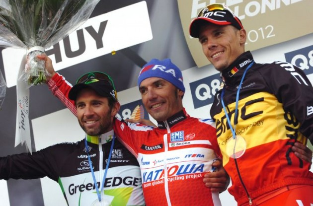 Rodriguez, Albasini and Gilbert on the podium. Photo Fotoreporter Sirotti.