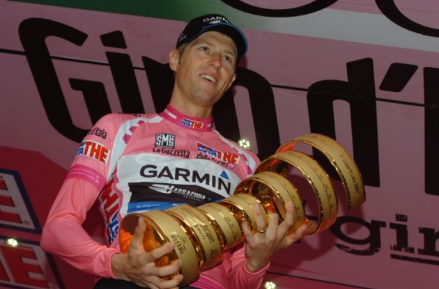 Team Garmin-Barracuda's Ryder Hesjedal wins Giro d'Italia 2012. Ryder on the podium in Milan with the Giro d'Italia trophy. Photo Fotoreporter Sirotti.
