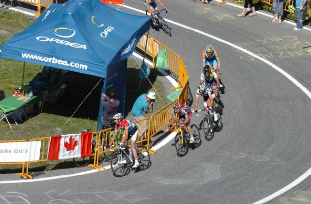 Schleck, Lance Armstrong, Evans, Wiggins and co. follow behind Contador. Photo copyright Fotoreporter Sirotti.