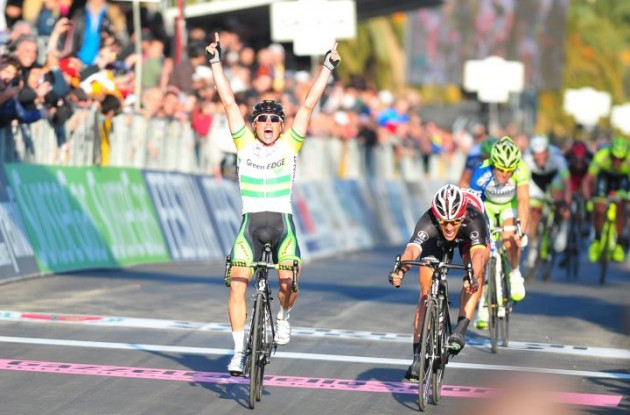 Simon Gerrans of Team GreenEdge sprints to victory in 2012 Milano-San Remo ahead of Fabian Cancellara of Team RadioShack-Nissan and Team Liquigas-Cannondale's Vincenzo Nibali. Photo Fotoreporter Sirotti.