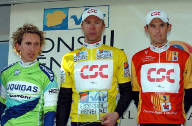 Voigt, Schleck, and Pellizotti on the podium. Photo copyright Fotoreporter Sirotti.