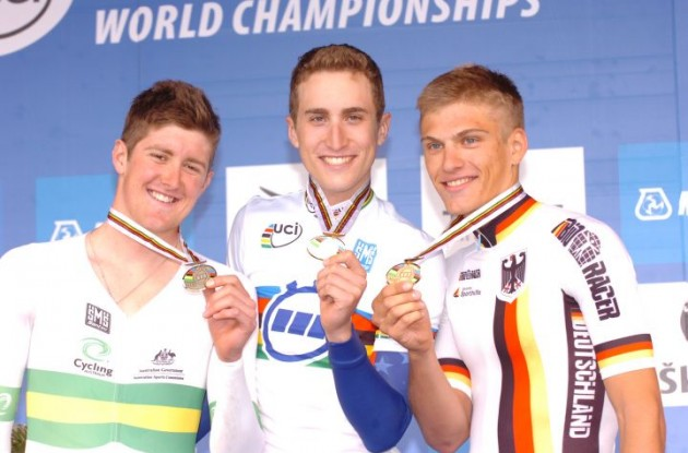 Taylor Phinney, Luke Durbridge and Marcel Kittel celebrate their wins on the podium. Photo copyright Fotoreporter Sirotti.