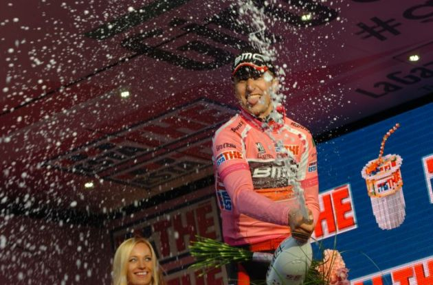 Taylor Phinney (BMC Racing Team) celebrates his Giro d'Italia lead on the podium in Herning, Denmark. Photo Fotoreporter Sirotti.