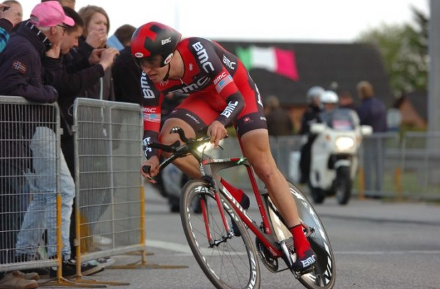 Team BMC Racing's Taylor Phinney on the road to victory in stage 1 of the 2012 Giro d'Italia in Denmark. Photo Fotoreporter Sirotti.
