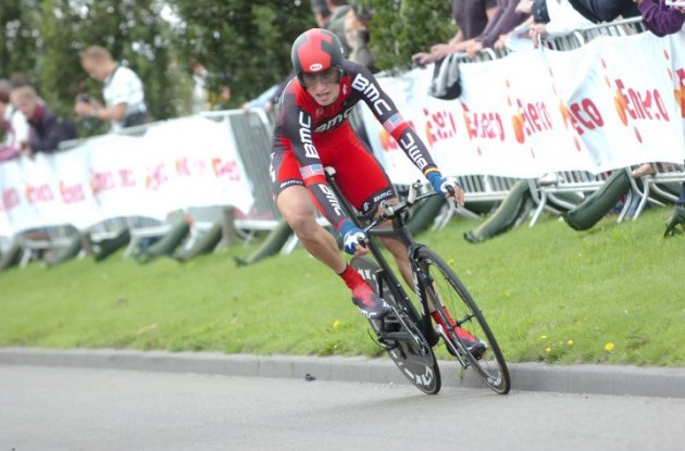 Taylor Phinney (Team BMC Racing) on his way to victory. Photo Fotoreporter Sirotti.