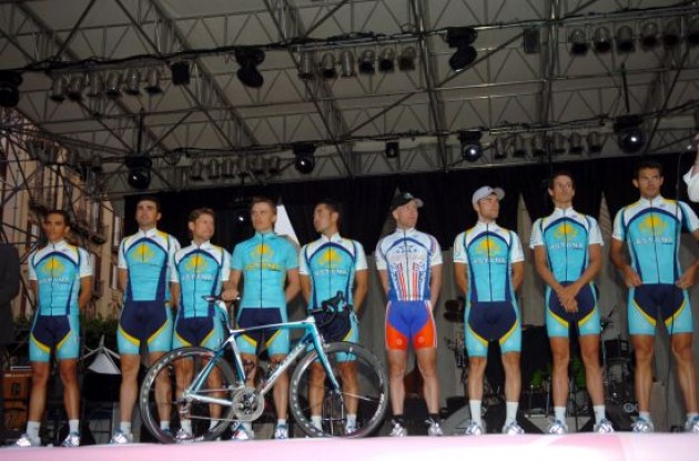Team Astana at the team presentation event in Palermo, Italy.