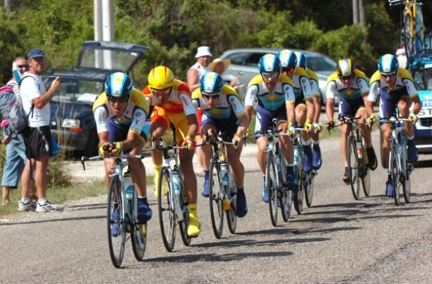 Team Astana - Team time trial in the 2009 Tour de France. Photo copyright Fotoreporter Sirotti.