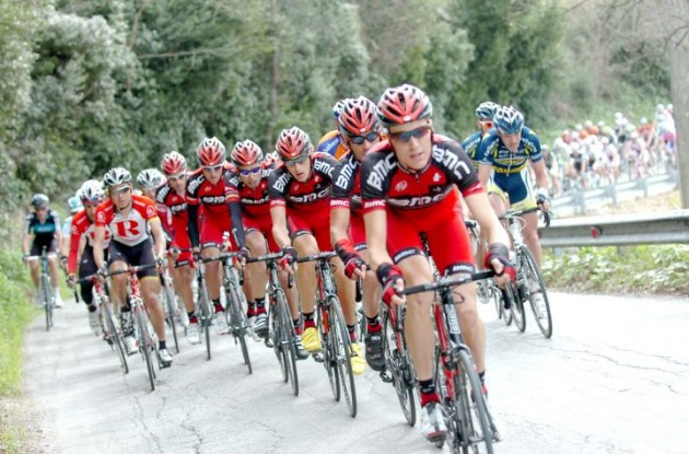 BMC Racing Team leads the peloton. Photo Fotoreporter Sirotti.