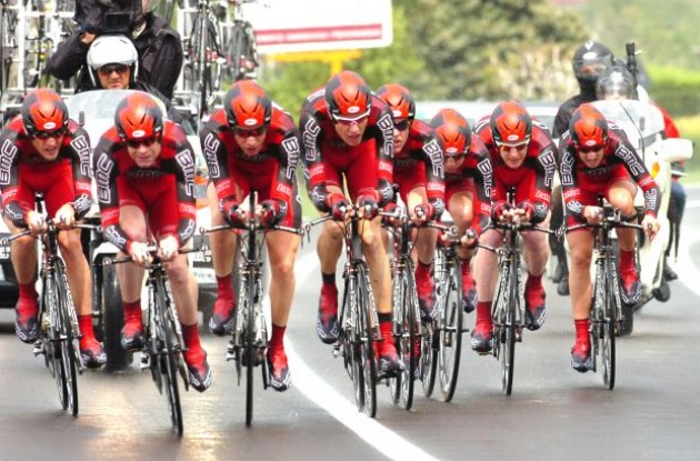 BMC Racing Team working hard for Cadel Evans. Photo copyright Fotoreporter Sirotti.