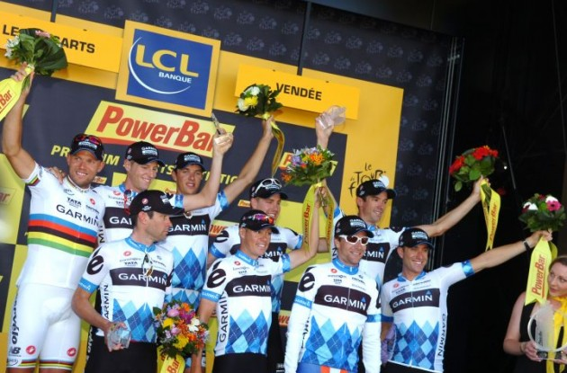 Team Garmin-Cervelo celebrate their victory on the podium. Photo Fotoreporter Sirotti.