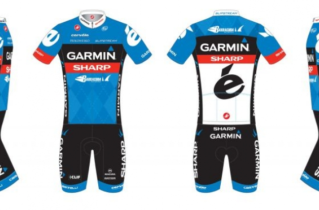 Team Garmin-Sharp kit. Jersey and bib shorts.