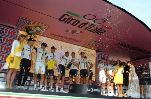 Team HTC-HighRoad celebrates their team time trial win and overall race lead on the podium in Torino. Photo Fotoreporter Sirotti.