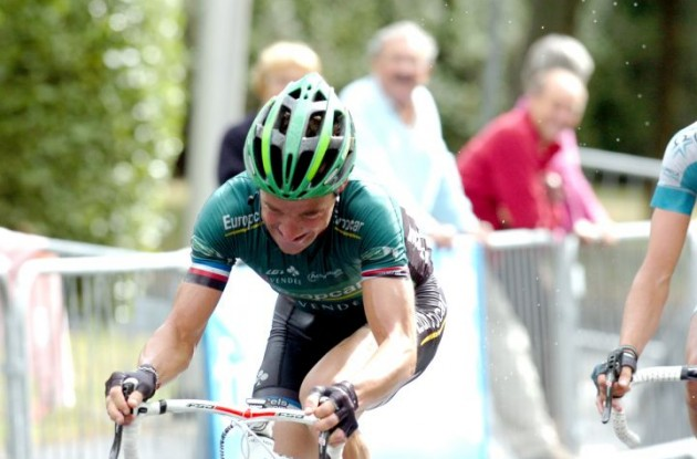 Team Europcar's Thomas Voeckler attacks in the final kilometers of today's stage. Photo Fotoreporter Sirotti.