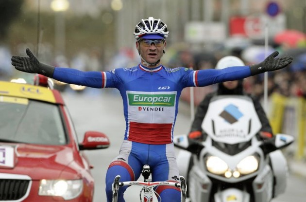 Thomas Voeckler (Team Europcar) wins the final stage of Paris-Nice 2011. Photo Fotoreporter Sirotti.