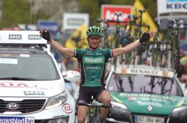 Thomas Voeckler of Team Europcar rides to solo victory in powerful fashion. Photo Fotoreporter Sirotti.