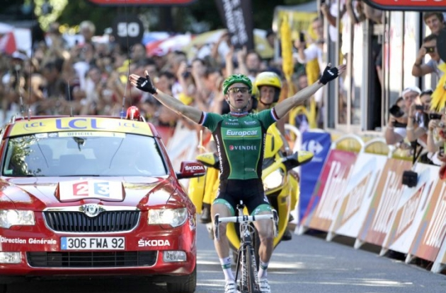 Team Europcar's Thomas Voeckler wins queen stage of 2012 Tour de France. Photo Fotoreporter Sirotti.