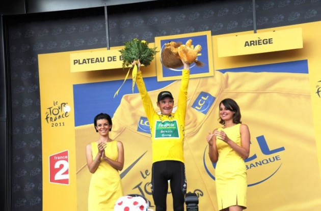 Thomas Voeckler (Team Europcar) keeps overall Tour de France lead after impressive riding. Photo Fotoreporter Sirotti.