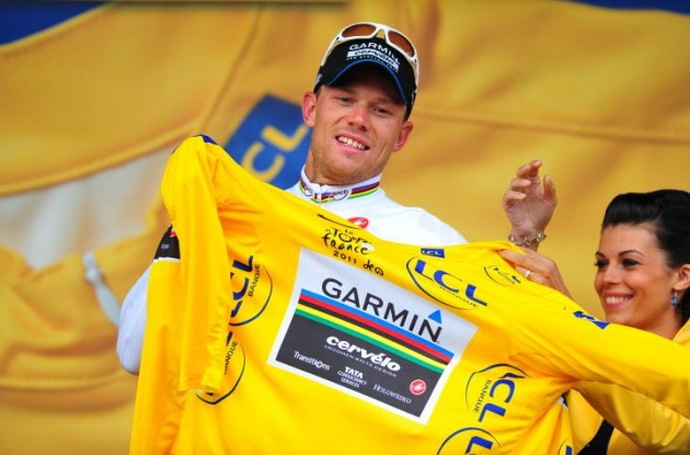 Team Garmin-Cervélo's Thor Hushovd surprisingly keeps the yellow leader's jersey. Photo Fotoreporter Sirotti.