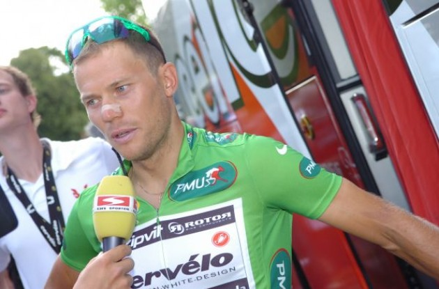 Norwegian God of Thunder Thor Hushovd (Cervelo TestTeam) at the start of the stage this morning before he lost the green jersey. Photo copyright Fotoreporter Sirotti.