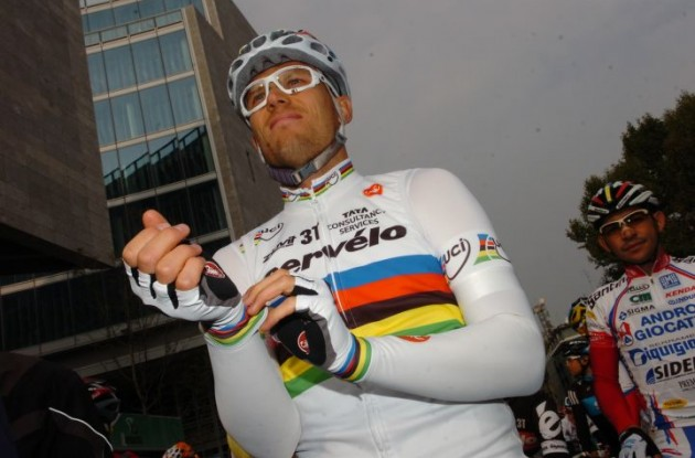 Cervelo TestTeam's World Champion Thor Hushovd is ready for the start of the 2010 Giro di Lombardia. Photo by Fotoreporter Sirotti.