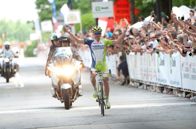 Team Liquigas-Cannondale's Timothy Duggan soloes to U.S. national road cycling champion title in Greenville, South Carolina ahead of Frank Pipp and Team Type 1's Kiel Reijnen. Photo Casey Gibson / USA Cycling