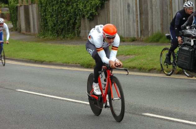 Germany's world time trial champion Tony Martin training on the Olympic time trial course. Photo Fotoreporter Sirotti.