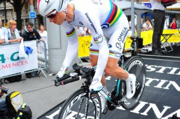 Team Omega Pharma - QuickStep's Tony Martin on the start ramp. Photo Fotoreporter Sirotti.