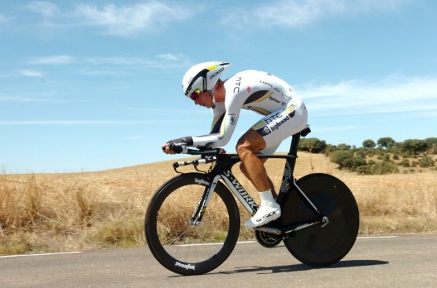 Tony Martin on his way to victory in the Tour of Spain 2011. Photo Fotoreporter Sirotti.
