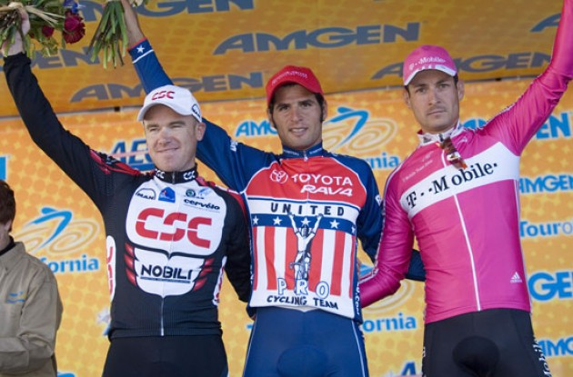 Top 3 on the podium: O'Grady, Haedo, and Pollack. Photo copyright Roadcycling.com.