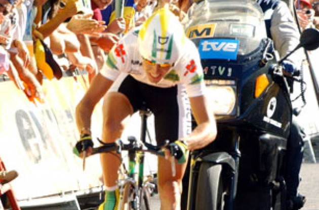 Santiago Perez (Phonak Hearing Systems) won today's time trial. Photo copyright Unipublic.