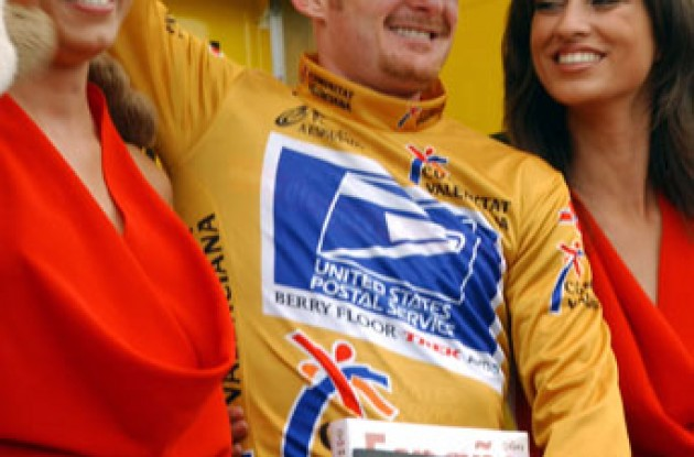 Floyd Landis leads overall after today's important stage. Photo copyright Unipublic.