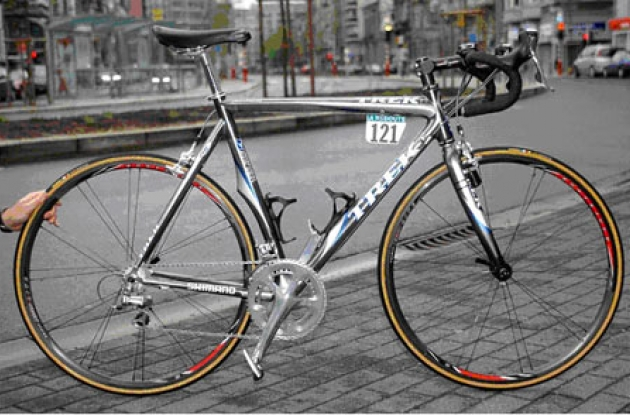 Armstrong's Trek Madone 5.9. Reportedly weighs in at 1.43 kg (3.17 lbs) for frame and fork only (based upon a 58 cm bike).