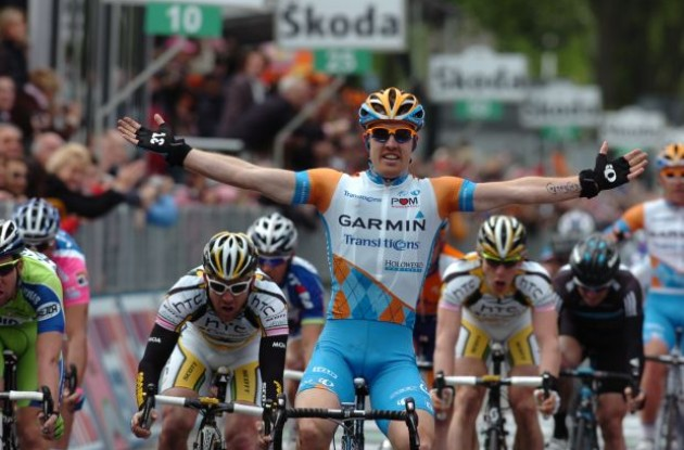 Tyler Farrar wins stage 2 of the 2010 Giro d'Italia. Photo copyright Fotoreporter Sirotti.