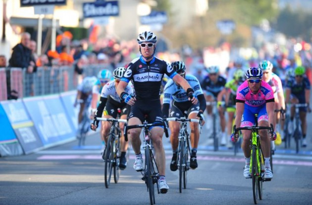 Tyler Farrar sprints to stage win in stage 2 of 2011 Tirreno-Adriatico. Photo Fotoreporter Sirotti.