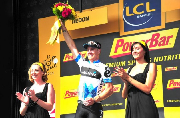 Tyler Farrar is celebrated on the podium after his stage victory on the 4th of July. Photo Fotoreporter Sirotti.