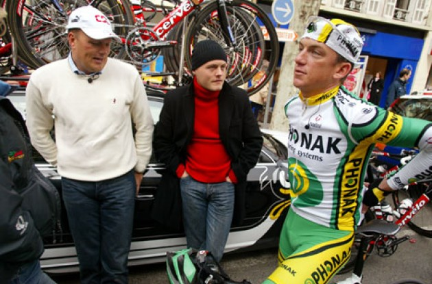 Tyler Hamilton with Team CSC manager and former Tour winner Bjarne Riis. Photo copyright Lars Ronbog.