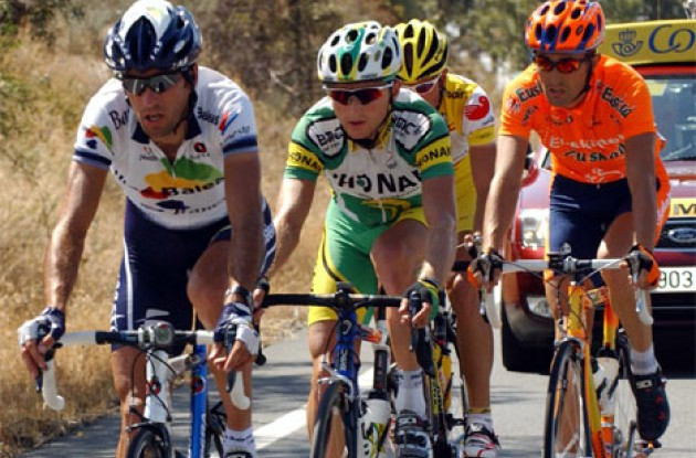 Tadej Valjavec working hard in this year's Vuelta. Photo copyright Unipublic.