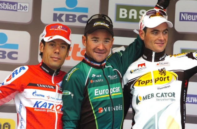 Voeckler, Freire and Serry on the podium. Photo Fotoreporter Sirotti.