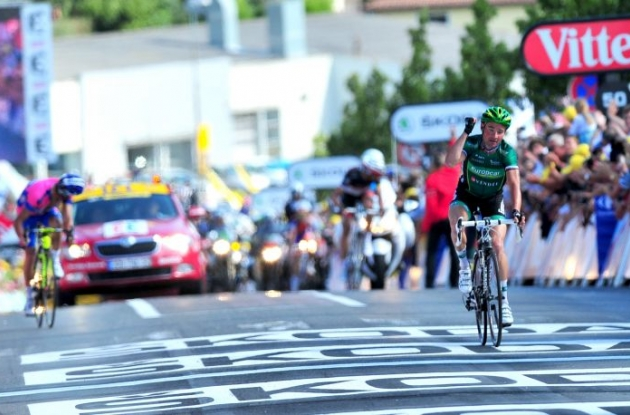 Team Europcar's Thomas Voeckler rides to victory in stage 10 of the Tour de France 2012 Photo Fotoreporter Sirotti.