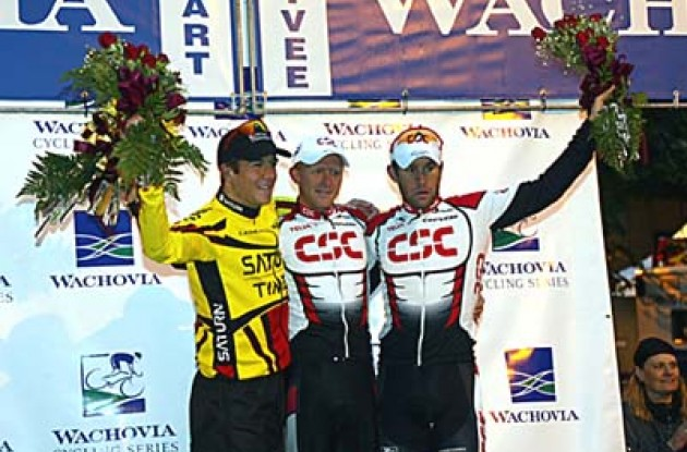 McCormack (2nd), Piil (1st) and Dean (3rd) on the podium. Photo copyright Wachovia Cycling.