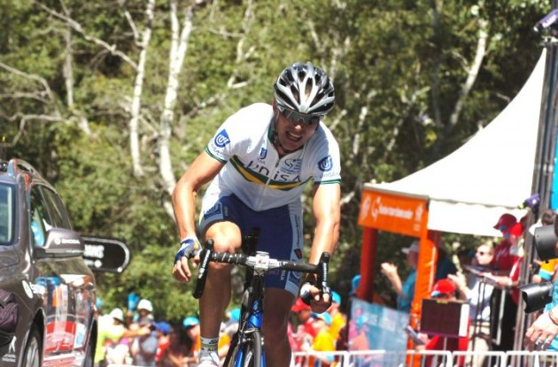 Team Uni-SA's Will Clarke solos to stage victory in 2012 Santos Tour Down Under. Photo Fotoreporter Sirotti.