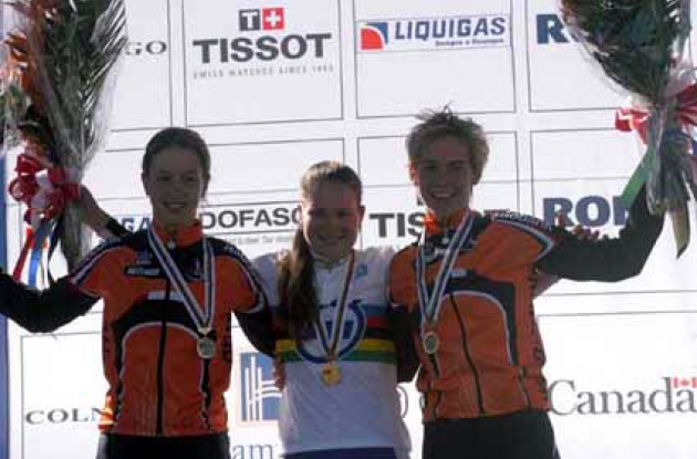 The proud top 3 on the podium. From left to right Loes Markerink (2nd), Bianca Knöpfle (1st) and Iris Slappendel (3rd). Photo copyright Fotoreporter Sirotti.