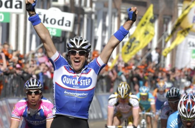 Wouter Weylandt wins stage 3 of the 2010 Giro d'Italia. Photo copyright Fotoreporter Sirotti.