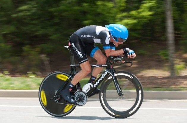 Team Garmin-Cervélo's David Zabriskie on his way to victory. Photo Casey B Gibson.